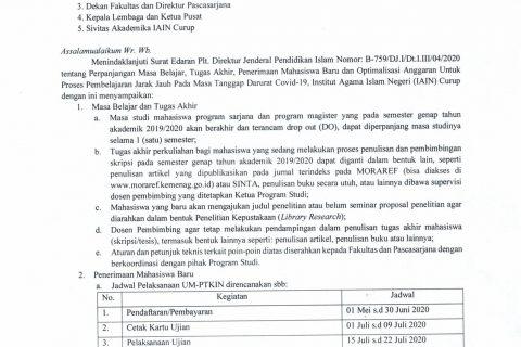 SE Rektor tentang Perpanjangan Belajar